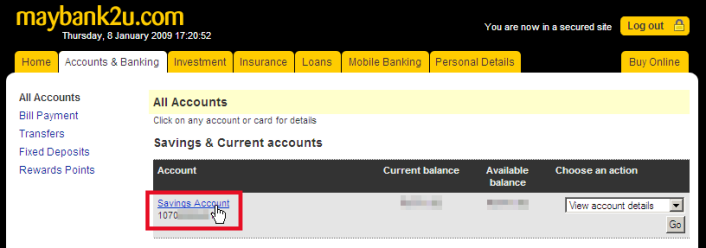 Maybank forex currency account