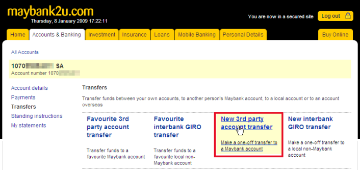 Make Your Payment Via Maybank2u 3rd Party Transfer